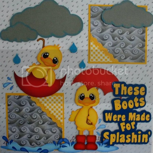 PUDDLE JUMPERS Rainy Day Premade Scrapbook Pages w