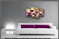PURPLE PLUM BEIGE CANVAS ART ORIENTAL FLORAL FLOWER SPLIT ...