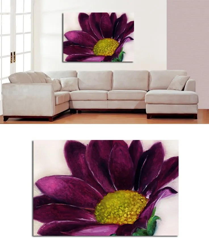 pink sofa browse uk portland large floral painting on canvas purple flower art a1 | ebay