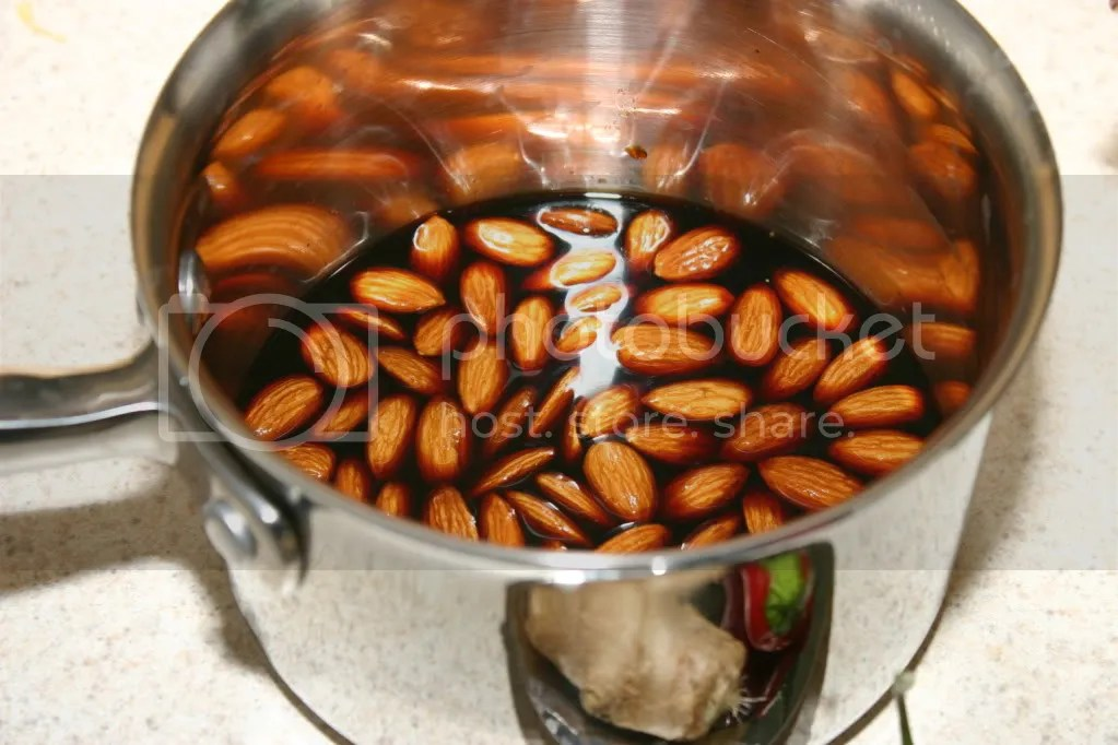 Almonds bathing in tamari