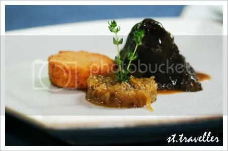 Braised wagyu beef cheek with deep-fried white truffle polenta and glazed white onion.
