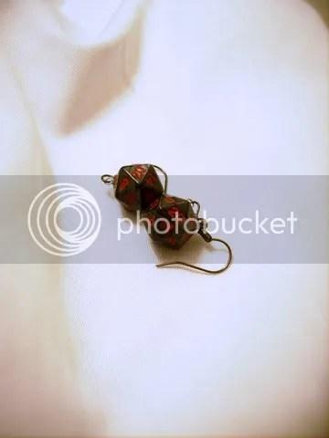 Mini-D20 Pearl Charcoal Earrings
