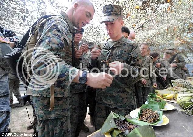 Para prajurit marinir Amerika Serikat yang berlatih di Thailand  dilatih memakan kalajengking