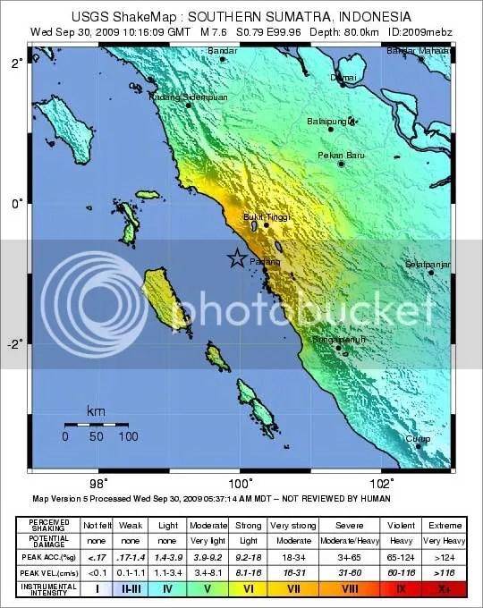Area Kerusakan Berdasarkan intensitas gempa di Padang