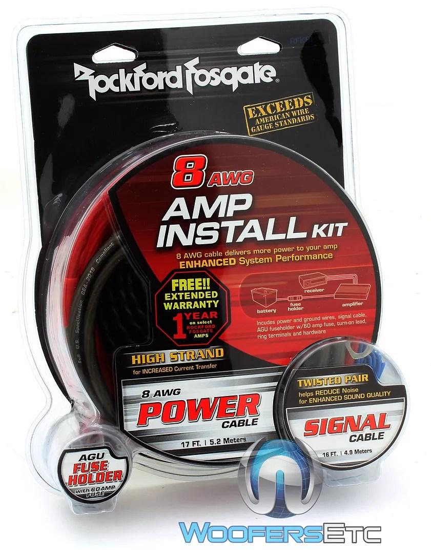 hight resolution of details about rockford fosgate rfk8i 8 gauge car audio subwoofer speaker amplifier wiring kit