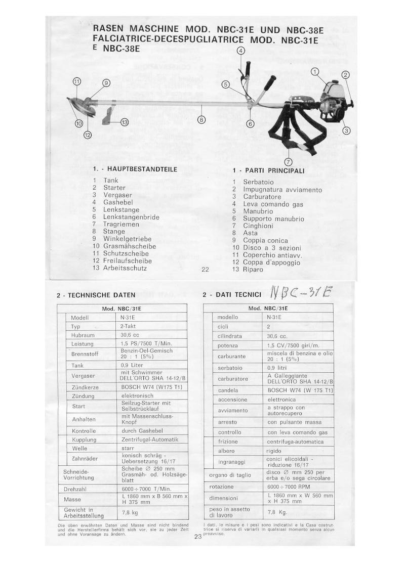 bluebird decespugliatori manuali di uso e manutenzione