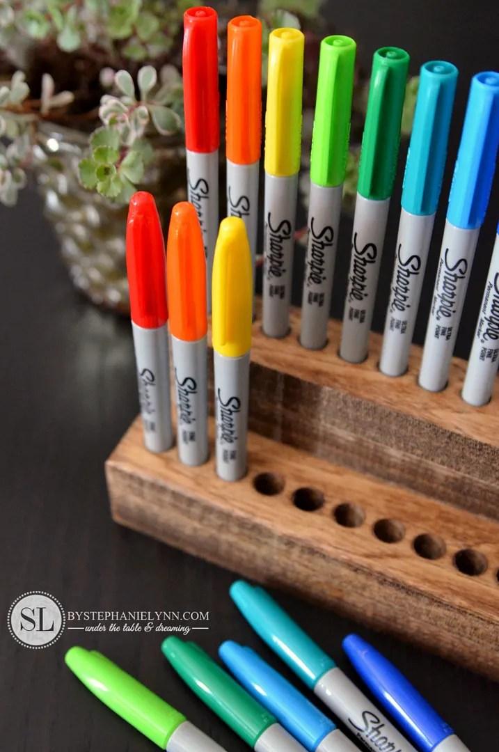 Wooden Sharpie Holder  diy pencil marker organizer