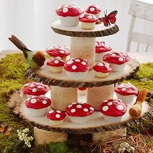 Covered Cans and Wood Rounds Cupcake Stands- Parents