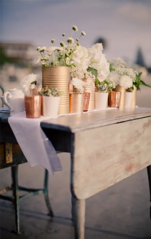 Painted Can Centerpiece- Jayne Weddings