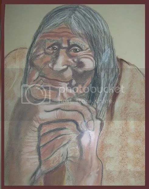VERY OLD NAKED WOMAN photo: the wise one/ painting by Sieglinde Hartmann WISEONE.jpg