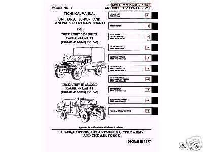 11 500 Page M998 Army HMMWV Hummer Humvee Repair Operator