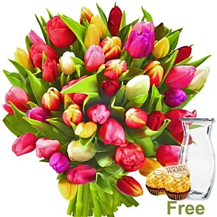 bunch of tulips and