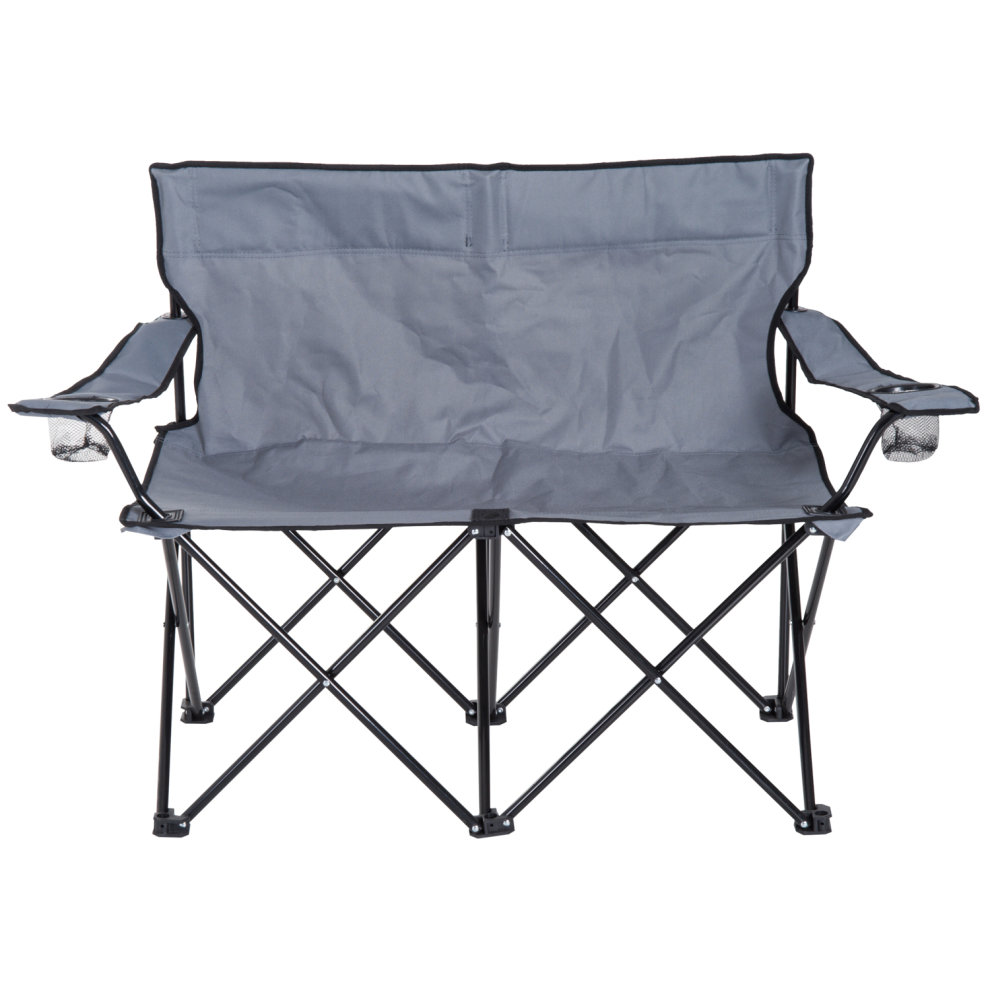 Double Camping Chair Outsunny Double Camping Chair Steel Oxford Fabric Grey On Onbuy