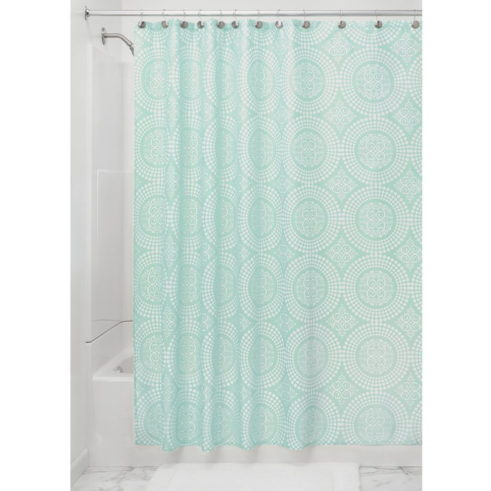 Bathroom Shower Curtain Interdesign Medallion Fabric Shower Curtains Long Shower Curtain Made Of Polyester Mint