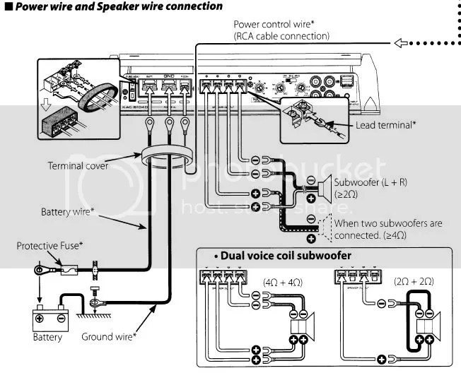 subwoofer wiring diagram 1 ohm visio process flow template rockford fosgate dual amp amplifier radio