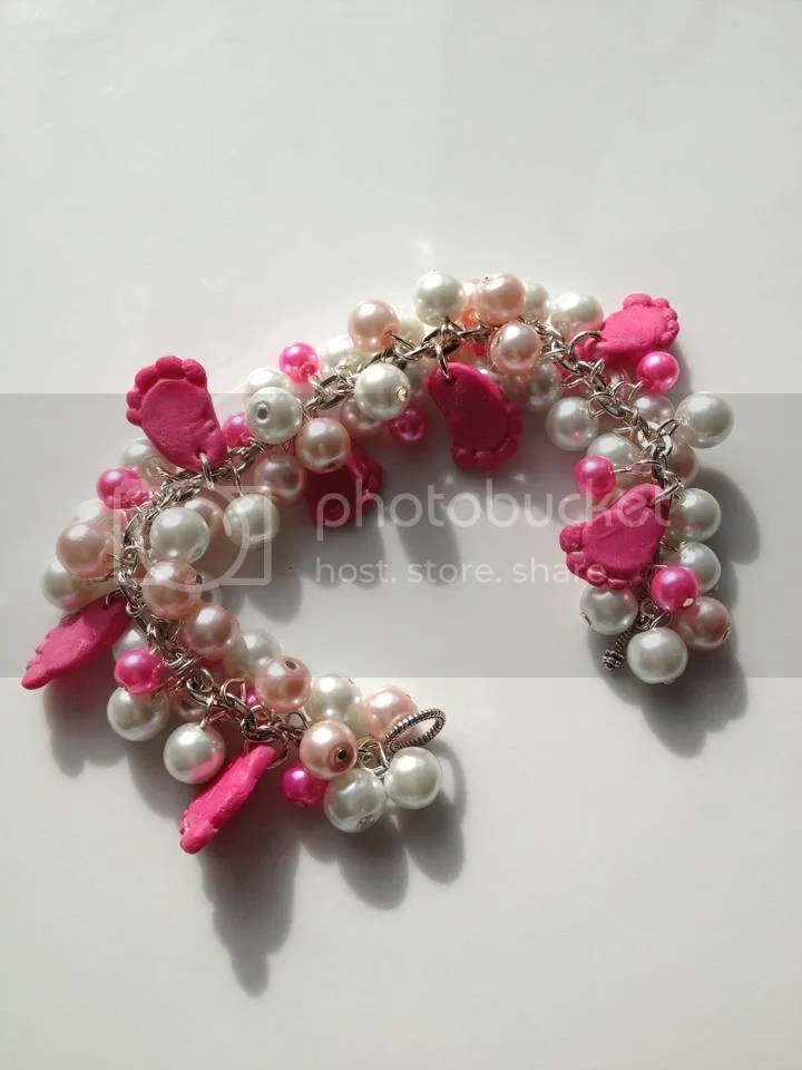 Pink and white beaded fimo footprint bracelet