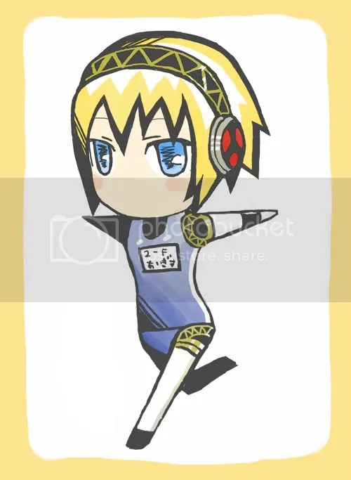 Aigis wants to wear a bathing suit too.