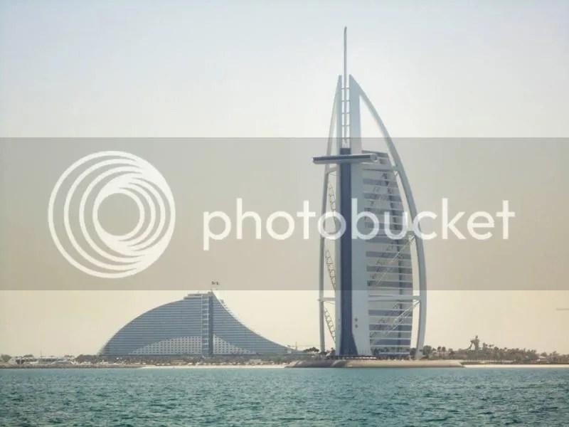 Burj Al Arab and Jumeirah Beach Hotel, Palm Jumeirah, Dubai, United Arab Emirates