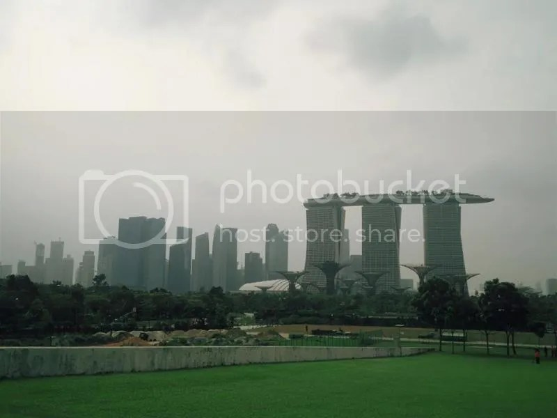 Singapore city skyline as viewed from Marina Barrage