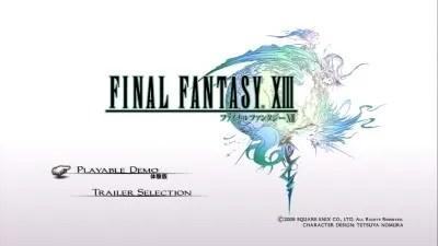 Layar utama demo Final Fantasy XIII