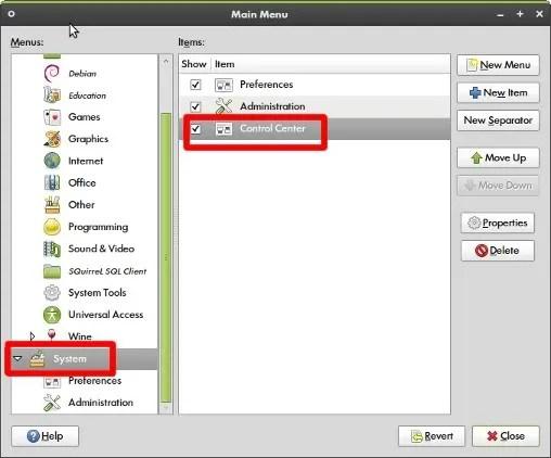 Klik kanan pada menu utama Ubuntu, pilih Edit Menus untuk mengakses menu ini