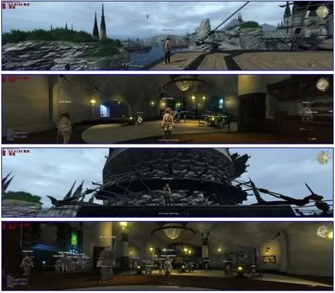 Beberapa tampilan FFXIV dalam mode panorama ektrim ini