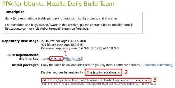 Repositori PPA Launchpad untuk aplikasi milik Mozilla