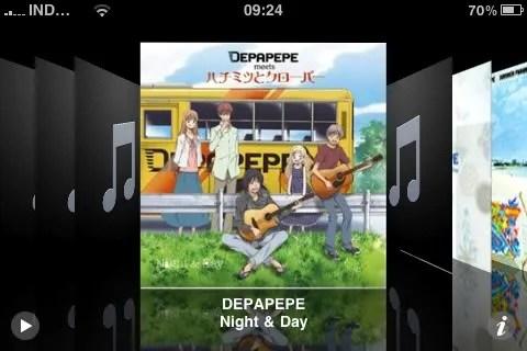 Tampilan CoverFlow album pada aplikasi iPod