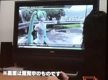 Tampilan Project DIVA dengan Dream Theater pada TV