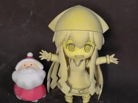 Nendoroid Ika Musume (prototype) with a Santa Claus figure