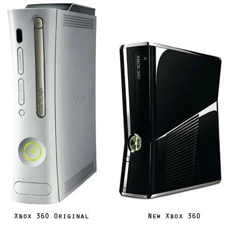 Xbox 360 Lama (kiri) dan Xbox 360 Baru (kanan)