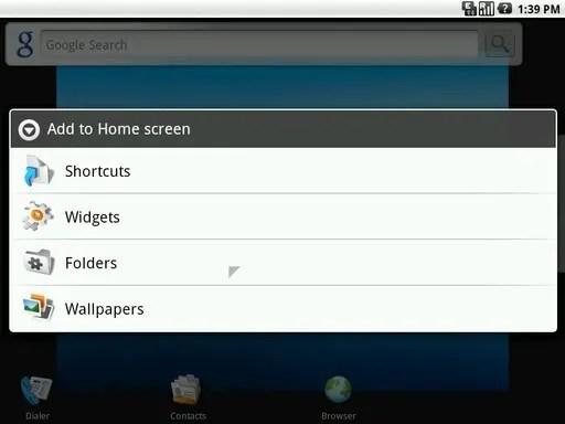 Tambahkan item ke layar Home