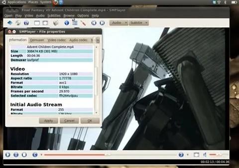 Trailer Final Fantasy VII ACC 1080p diputar dengan lancar menggunakan VDPAU