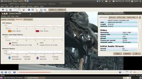 Trailer FFVII ACC pada SMPlayer dengan VDPAU aktif