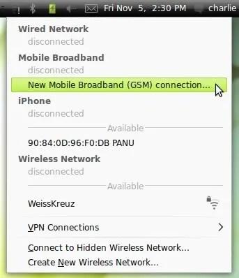 Pilih menu ini untuk memulai konfigurasi modem