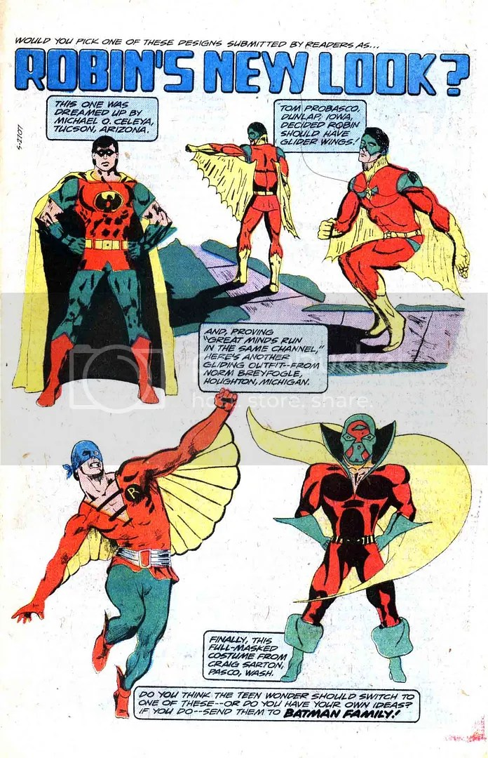 Norms Robin costume from Batman Family #13 (lower left)