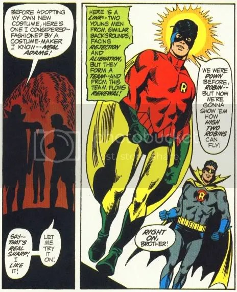 The (first) Neal Adams Robin costume, as drawn by Dick Dillin from JLA #92
