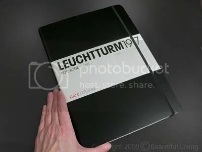 Leuchtturms Master Book is extra large and includes vertical margins on the outside of the pages for additional note taking.