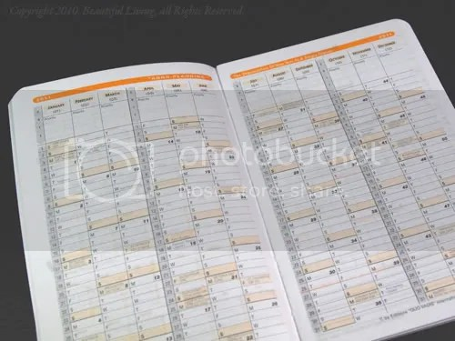 A small annual planner gives you an overview of the entire year a a little room for basic information.