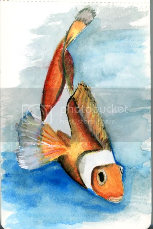 Watercolor of a Clown Fish done in a pocket sized, Moleskine Watercolor Journal.
