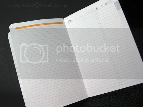The back of the planner includes a ruled page for notes and an alphabetized address book.