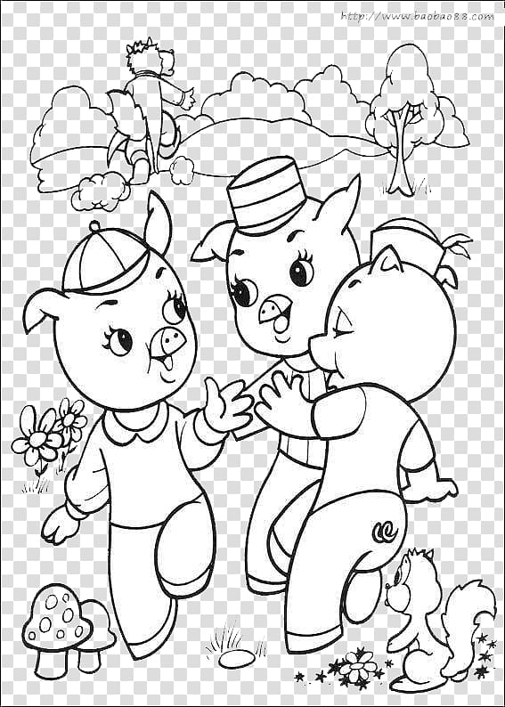 Big Bad Wolf Domestic pig The Three Little Pigs Coloring