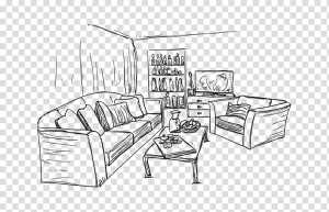 interior living drawing sketch clipart transparent couch services pngguru pngio