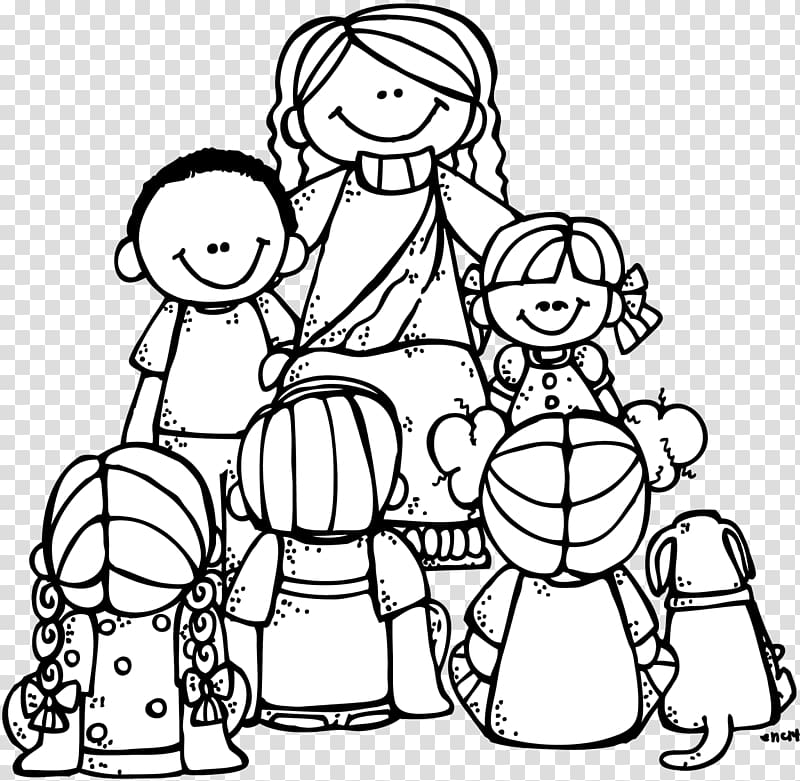 Coloring book Teaching of Jesus about little children