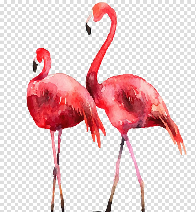 two pink flamingos painting