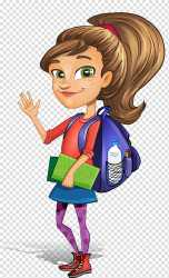 student female cartoon clipart background students ponytail transparent clip woman books carrying drawing painting character read