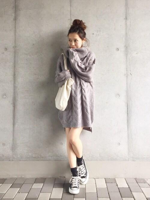 yurieのニット/セーター「【Casual】タートルケーブルルーズニット」を使ったコーディネート