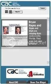 CAC-Charities missing child widget