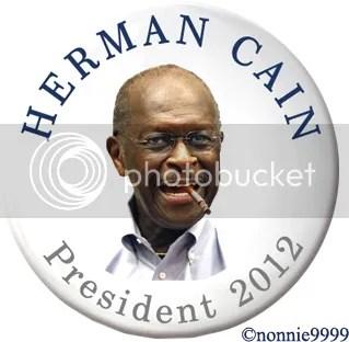 herman cain campaign button smoking cigarette