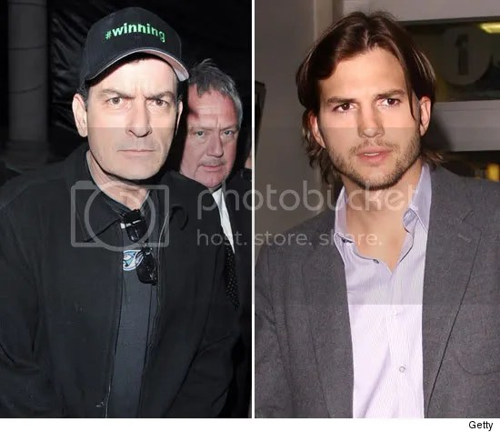 charlie sheen vs ashton kutcher Charlie Sheen Demitido   Ashton Kutcher assume o cargo